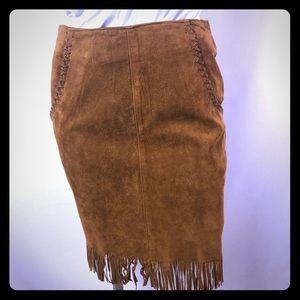 RTG tan leather suede fringe cowgirl mini skirt 7